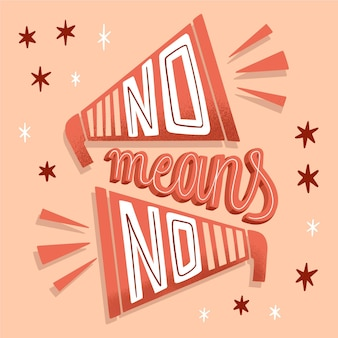 No means no message lettering