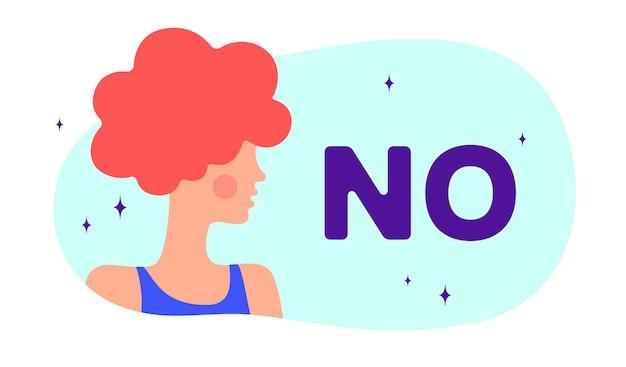 아니요. 모던 플랫 캐릭터입니다. 실루엣 여자는 연설 거품 텍스트 번호를 말합니다. 간단한 문자 여자, 사람, 소녀. 여자 캐릭터, 평면 컬러 그래픽의 개념입니다. 벡터 일러스트 레이 션