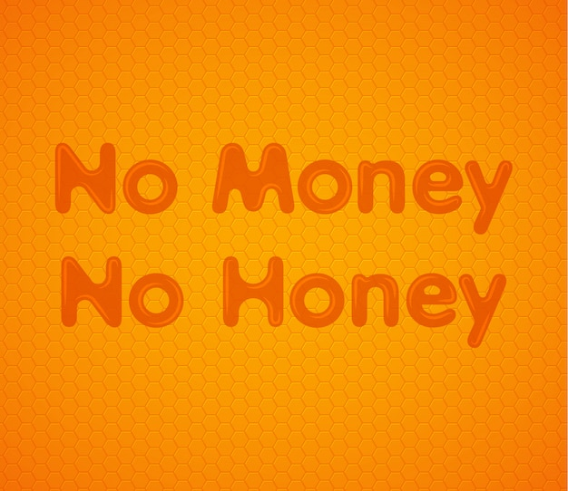 No money no honey orange honeycomb background