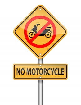 No motorcycle sign pole on white background