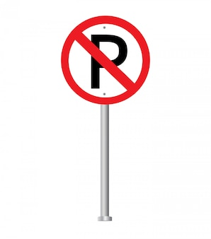 No parking sign. prohibition sign.