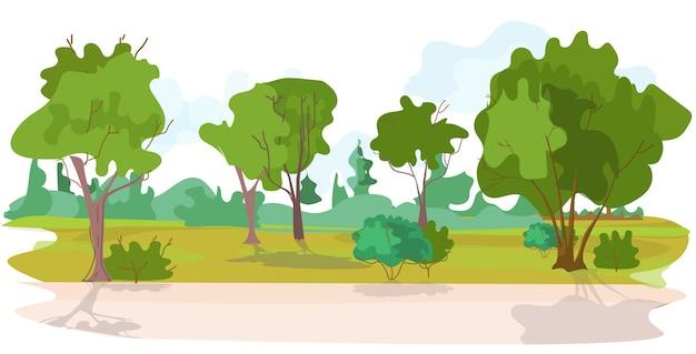 Нет людей красивый летний парк пейзаж фон векторная иллюстрация