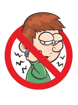 No phone receiver sign - cartoon character illustration