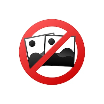 No photo, great design for any purposes. camera icon. warning icon. vector illustration.