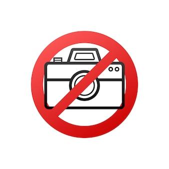 사진이 없습니다. 어떤 용도로든 멋진 디자인입니다. 카메라 아이콘입니다. 경고 아이콘입니다. 벡터 일러스트 레이 션.