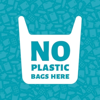 No plastic bags here concept vector illustration single use plastic bag with sign on trash