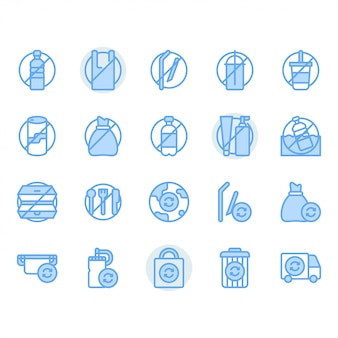 No plastic concept related icon set