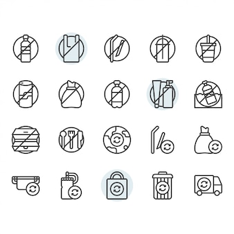 No plastic concept related thin line icon set