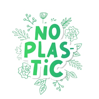 No plastic, great design for any purposes. plastic waste  illustration. organic sign.