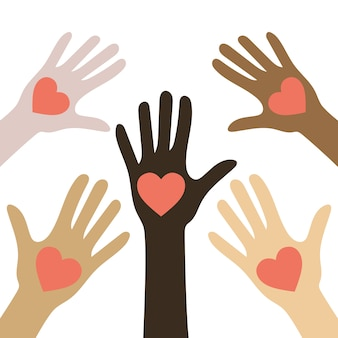 No racism concept. different color skin. human hands with hearts. black lives matter.