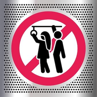 Запрещение сексуальных домогательств, запрещающий знак в общественном транспорте,