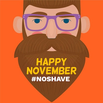 Нет бритья happy movember плоский дизайн