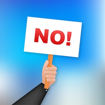 No sign. cartoon poster with hand holding placard for  . , billboard .   illustration