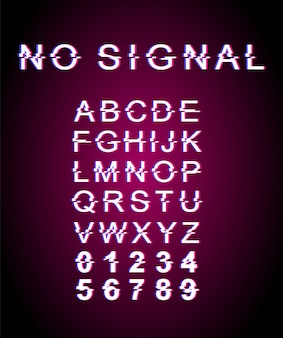 No signal glitch font template. retro futuristic style vector alphabet set on pink background.