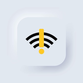 Нет сигнала интернета. нет знака wi-fi. нет соединения. нет сети. белая веб-кнопка пользовательского интерфейса neumorphic ui ux. неоморфизм. вектор eps 10.