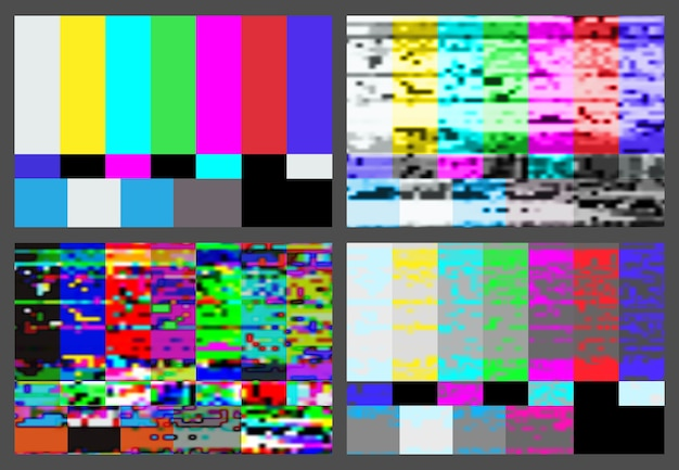 No signal tv test pattern background set