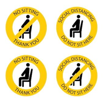 そこに座っていません。禁止席。コロナウイルスの感染を防ぐために社会的距離を保ちます。ここに座ってはいけません。座っているときは距離を保ってください。椅子に座っている男。ベクトルイラスト