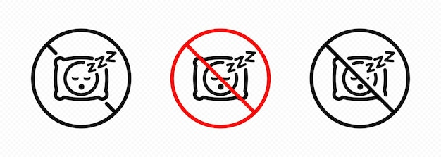 No sleep icon set. no pillow symbol. no sleeping sign in black. for graphic design, logo, web, ui, mobile app. vector on isolated transparent background. eps 10