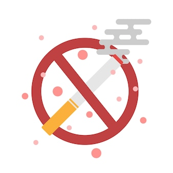 No smoking cigarette and sign, cigarette icon