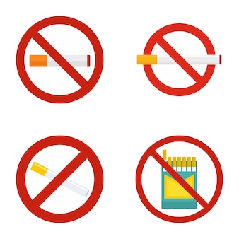 No smoking icon set