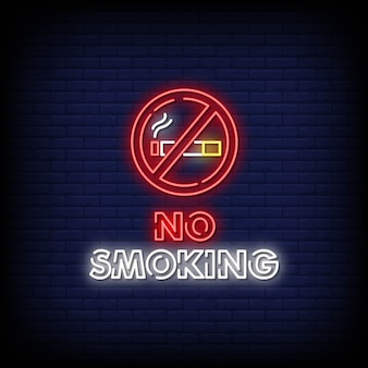 No smoking neon signs style text