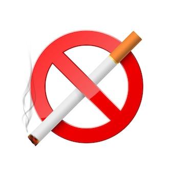 喫煙禁止。燃えているタバコと赤い禁止標識。現実的な禁止喫煙アイコン。白い背景に分離