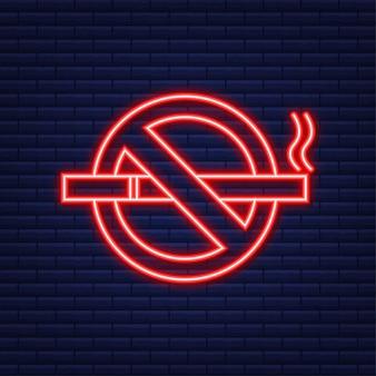 禁煙の兆候はありません。タバコ、あらゆる目的のための素晴らしいデザイン。ネオンアイコン。ベクトルイラスト。