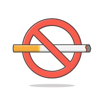 白で隔離の禁煙サイン