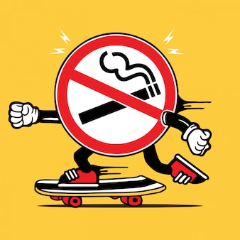No smoking sign skater skateboard character