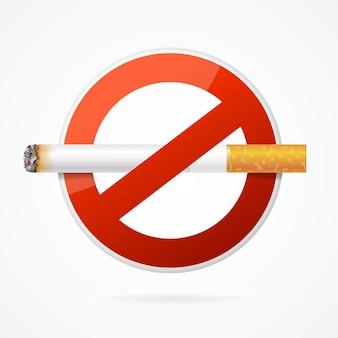 포스터를 위한 현실적인 담배가 있는 금연 표지판입니다. 벡터 일러스트 레이 션