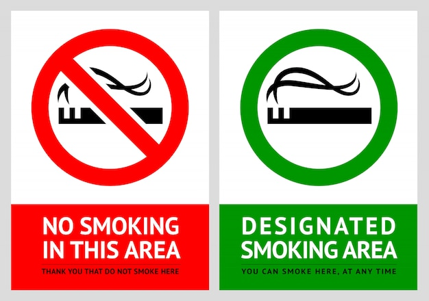 No smoking and smoking area labels - set 2