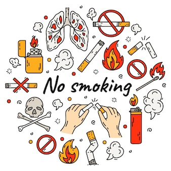 No smoking vector set in doodle style illustration