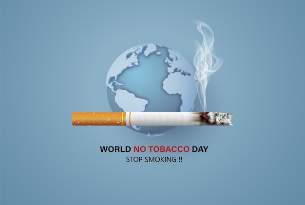 No smoking and world no tobacco day card in paper collage style with digital craft .