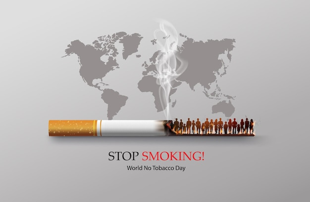 No smoking and world no tobacco day card with many people and hand anti cigarette in city in paper collage style with digital craft .
