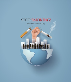 No smoking and world no tobacco day card with many people and hand anti cigarette in city