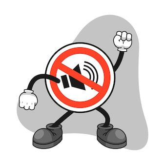 No sound sign cartoon character with an angry gesture