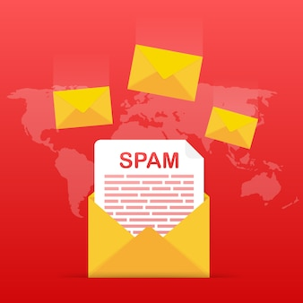 No spam. spam email warning. concept of virus, piracy, hacking and security. envelope with spam