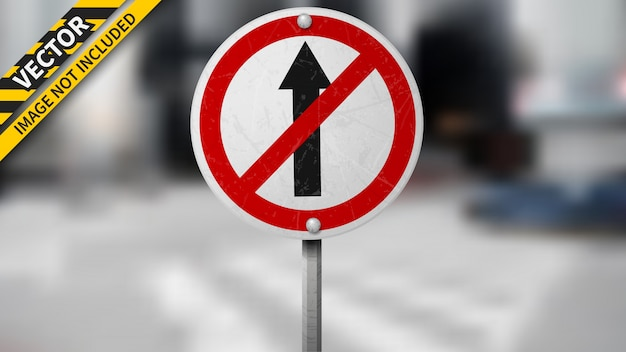 No straight traffic sign on blurred background