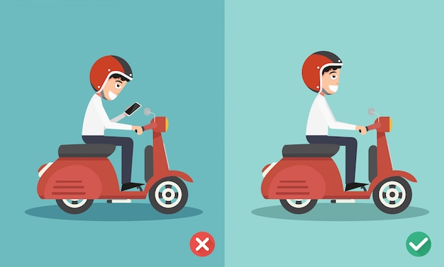 No texting ,no talking, right and wrong ways riding to prevent car crashes