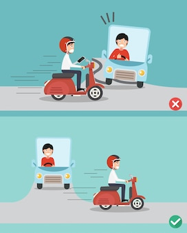 No texting ,no talking, right and wrong ways riding to prevent car crashes.