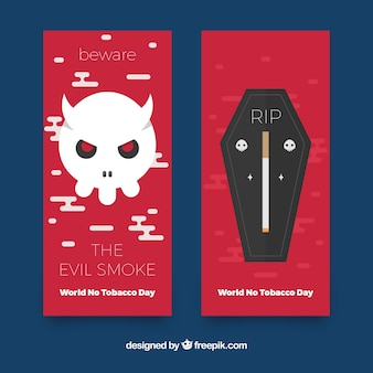 No tobacco day banners with skull and tomb