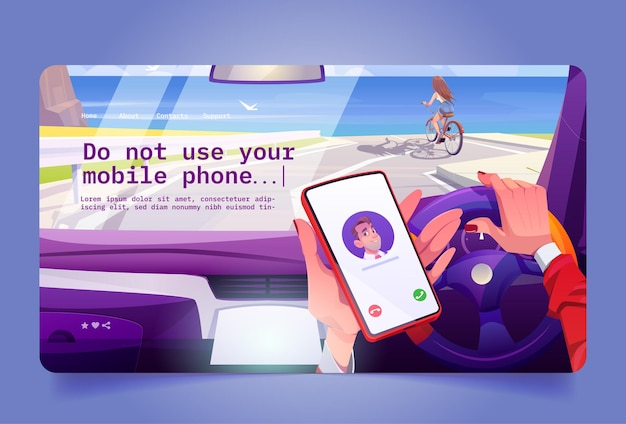 No using mobile phone while driving concept of unsafe car driving with cell call vector landing page...