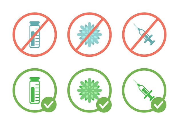No vaccine viruses and syringes prohibition sign and vaccination allowed