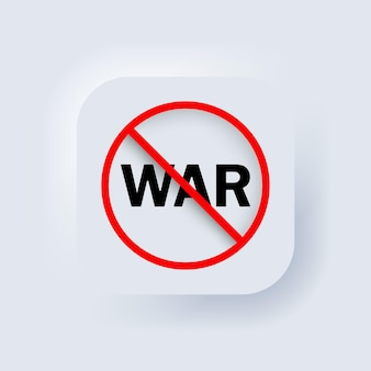 戦争アイコンはありません。ベクター。武器の概念はありません。フリーダム。 neumorphic uiuxの白いユーザーインターフェイスのwebボタン。ニューモルフィズム。ベクトルイラスト