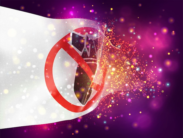 No war, vector 3d flag on pink purple background with lighting and flares