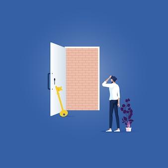 Нет выхода, бизнес-концепция - кирпичная стена блокирует дверной проем