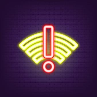 Нет неонового значка wi-fi. нет сигнала интернет-неон. нет соединения. нет сети. платный интернет. плохая антенна в неоновом стиле. вектор eps 10.