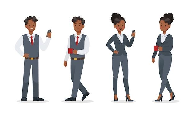 オフィスキャラクターデザインで働くビジネスマン。 no14