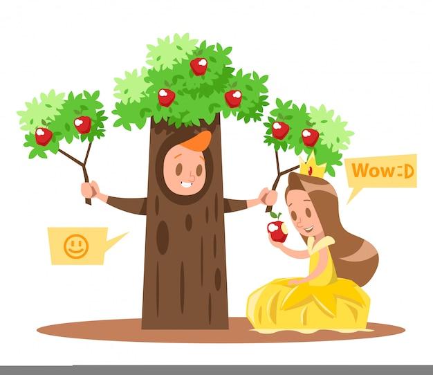 リトルプリンセスとアップルツリーの文字no2を設計