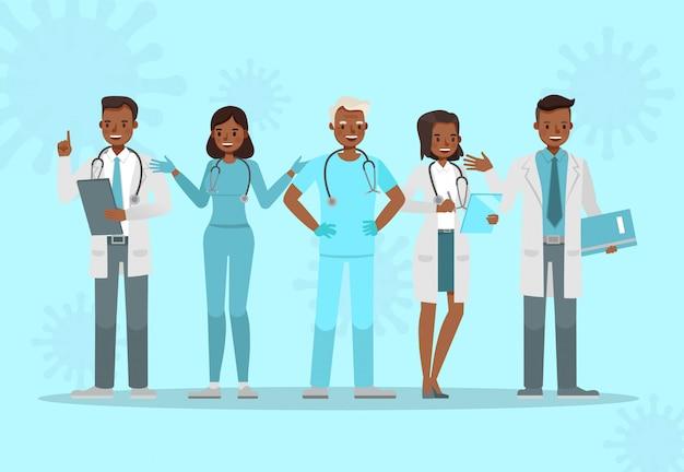 Набор доктора. коронавирусная концепция карантинного дизайна персонажей №4